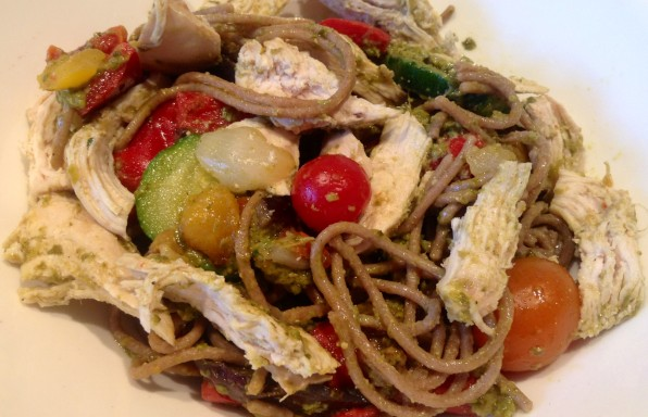 Healthy-Mediterranean-Pesto-Chicken-Pasta%E2%80%8F